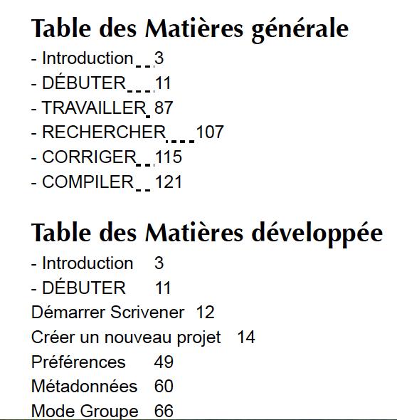 TablesMatieres