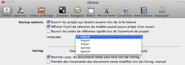 Choisir la langue de Scrivener dans les Préférences.