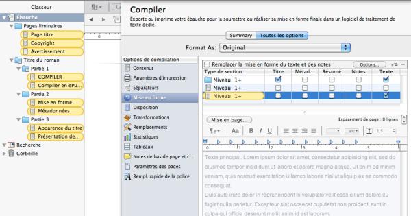 scrivener compiler niveau 2