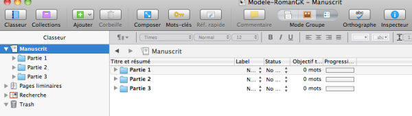 manuscrit scrivener mode plan
