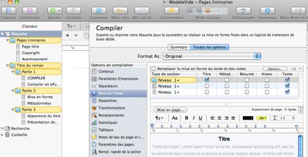 compiler scrivener titre chapitres