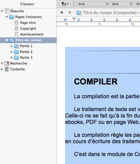Scrivener Composite retrait de pages