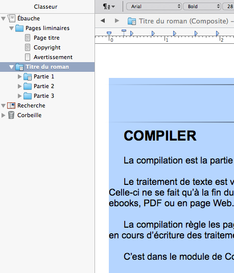 Scrivener Composite retrait de pages