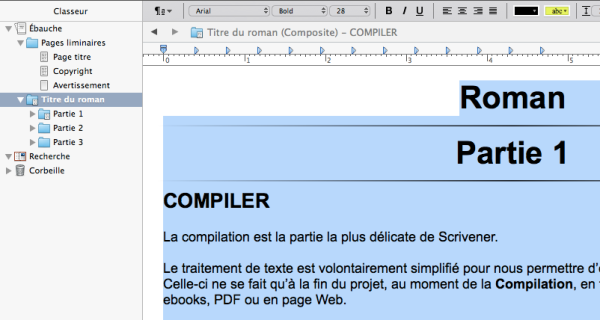 Composite Scrivener selection texte