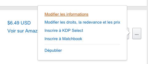 Amazon modifier informations