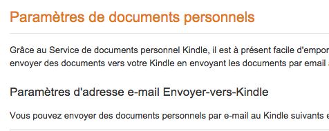 envoi documents personnels Kindle