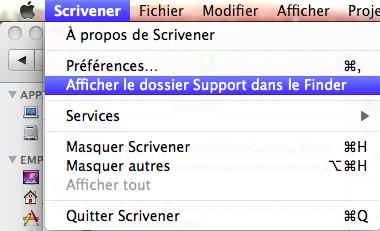 dossier support scrivener