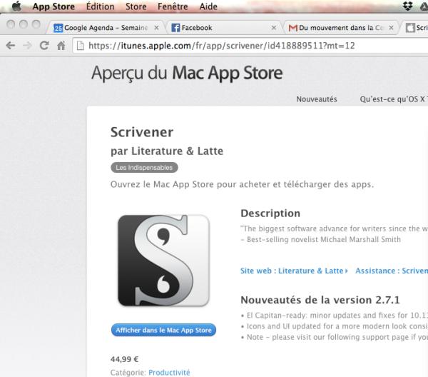 itunes app store scrivener