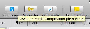composition plein écran Scrivener
