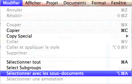 select sous-documents Scrivener