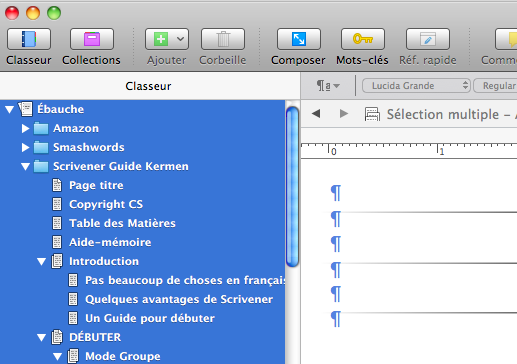 Selection multiple scrivener