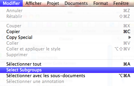 Select subgroups Scrivener