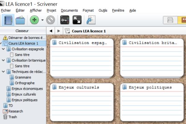 Projet ouvert sur Scrivener