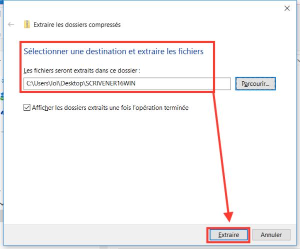 Extraire les fichiers du dossier compressé zip