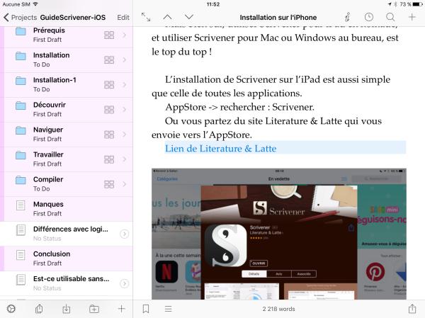 Ecran de l'article en cours, avec le classeur à gauche et l'éditeur de texte, que l'on peut agrandir en page unique