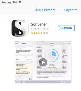 Scrivener application sur AppStore