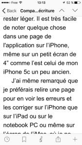 Capture d'écran d'une page d'iPhone5